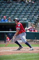 Tacoma Rainiers third baseman Seth Mejias-Brean (21) follows through on his swing during a Pacific Coast League game against the Sacramento RiverCats at Raley Field on May 15, 2018 in Sacramento, California. Tacoma defeated Sacramento 8-5. (Zachary Lucy/Four Seam Images)