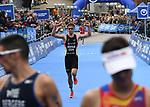 06.07.2019,  Innenstadt, Hamburg, GER, Hamburg Wasser World Triathlon, Elite Mainner, im Bild Justus Nieschlag (GER) laeuft durch das Ziel Foto © nordphoto / Witke *** Local Caption ***