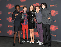 Caleb McLaughlin, Noah Schnapp, Millie Bobby Brown, Gaten Matarazzo &amp; Finn Wolfhard at the premiere for Netflix's &quot;Stranger Things 2&quot; at the Westwood Village Theatre. Los Angeles, USA 26 October  2017<br /> Picture: Paul Smith/Featureflash/SilverHub 0208 004 5359 sales@silverhubmedia.com