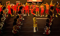 12 AUG 2012 - LONDON, GBR - The Massed Bands of the Household Division perform during the Street Party section of the London 2012 Olympic Games Closing Ceremony in the Olympic Stadium in the Olympic Park, Stratford, London, Great Britain .(PHOTO (C) 2012 NIGEL FARROW)