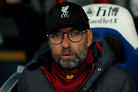 23rd November 2019; Selhurst Park, London, England; English Premier League Football, Crystal Palace versus Liverpool; Liverpool Manager Jurgen Klopp looks pensive as Palace press - Strictly Editorial Use Only. No use with unauthorized audio, video, data, fixture lists, club/league logos or 'live' services. Online in-match use limited to 120 images, no video emulation. No use in betting, games or single club/league/player publications