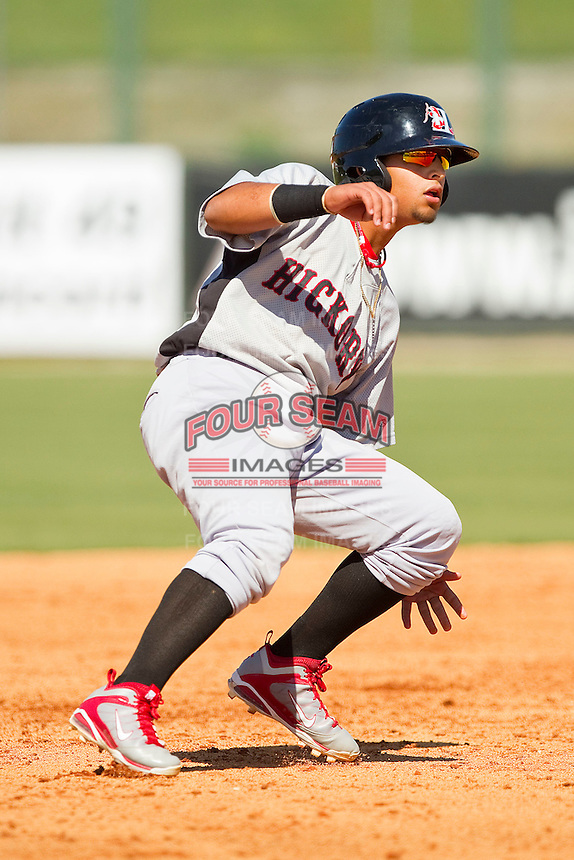 Rougned Odor #2 of the Hickory Crawdads puts on the brakes after rounding second base against the Kannapolis Intimidators at CMC-Northeast Stadium on April 8, 2012 in Kannapolis, North Carolina.  The Intimidators defeated the Crawdads 12-11.  (Brian Westerholt/Four Seam Images)