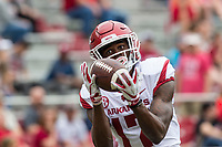 Hawgs Illustrated/BEN GOFF <br /> Jimmie Stoudemire, Arkansas wide receiver, warms up Saturday, April 6, 2019, during the Arkansas Red-White game at Reynolds Razorback Stadium.