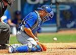 15 March 2008: Los Angeles Dodgers' catcher Russell Martin makes the stop during a Spring Training game against the Washington Nationals at Space Coast Stadium, in Viera, Florida...Mandatory Photo Credit: Ed Wolfstein Photo