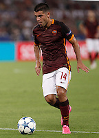 Calcio, Champions League, Gruppo E: Roma vs Barcellona. Roma, stadio Olimpico, 16 settembre 2015.<br /> Roma&rsquo;s Iago Falque in action during a Champions League, Group E football match between Roma and FC Barcelona, at Rome's Olympic stadium, 16 September 2015.<br /> UPDATE IMAGES PRESS/Isabella Bonotto<br /> <br /> *** ITALY AND GERMANY OUT ***