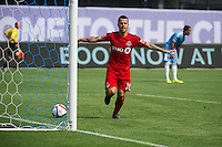 BRONX, NY - Sunday July 12, 2015: New York City FC ties Toronto FC 4-4 at home at Yankee Stadium during the 2015 MLS regular season.