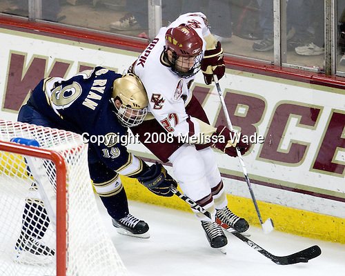 Ben Ryan (Notre Dame - 19), Andrew Orpik (Boston College - 27) - The University of Notre Dame Fighting Irish defeated the Boston College Eagles 4-1 on Friday, November 7, 2008, at Conte Forum in Chestnut Hill, Massachusetts.