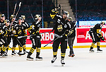 Stockholm 2014-10-14 Ishockey Hockeyallsvenskan AIK - Malm&ouml; Redhawks :  <br /> AIK:s Yared Hagos jublar efter matchen och segern &ouml;ver Malm&ouml; Redhawks<br /> (Foto: Kenta J&ouml;nsson) Nyckelord:  AIK Gnaget Hockeyallsvenskan Allsvenskan Hovet Johanneshov Isstadion Malm&ouml; Redhawks jubel gl&auml;dje lycka glad happy