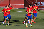 Spanish Vitolo, Diego Costa, David Silva, Jordi Alba and Sergio Busquets during the first training of the concentration of Spanish football team at Ciudad del Futbol de Las Rozas before the qualifying for the Russia world cup in 2017 August 29, 2016. (ALTERPHOTOS/Rodrigo Jimenez)