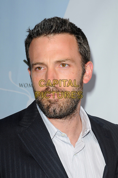 "BEN AFFLECK.Arriving at Children Mending Hearts' 3rd Annual ""Peace Please"" Gala at the Music Box @ Fonda in Hollywood, California, USA, April 16th 2010..portrait headshot grey gray pinstripe black white shirt beard facial hair striped .CAP/ROT.©Lee Roth/Capital Pictures"