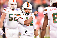 Charlotte, NC - DEC 2, 2017: Miami Hurricanes quarterback Malik Rosier (12) is not happy after a missed assignment causes a incomplete pass during ACC Championship game between Miami and Clemson at Bank of America Stadium Charlotte, North Carolina. (Photo by Phil Peters/Media Images International)