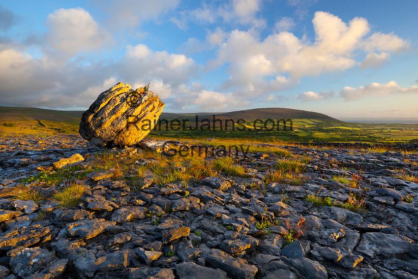 Ireland, County Clare, near Ballyvaughan: The Burren, typical landscape with fissured limestone pavement and round boulder | Irland, County Clare, bei Ballyvaughan: The Burren (steiniger Ort), einzigartige Karstlandschaft mit zerklueftetem Kalkstein und rundem Findling