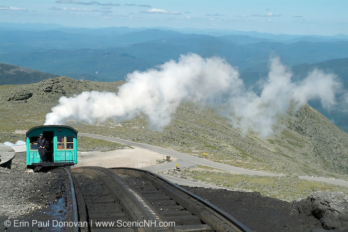 The Mount Washington Cog at the summit of Mount Washington during the summer months in the scenic landscape of the White Mountains, New Hampshire USA ..Notes:
