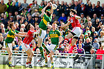 David Moran Kerry in action against Sean Kiely Cork in the National Football league in Austin Stack Park, Tralee on Sunday.