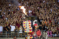 TALLAHASSEE, FLA. 9/5/15-Brendan <br /> Carter portrays Florida State University mascot Osceola during the Texas State University football game at Doak Campbell Stadium in Tallahassee.<br /> <br /> COLIN HACKLEY PHOTO