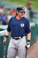 Pawtucket Red Sox catcher Ryan Hanigan (35), on rehab assignment form the Boston Red Sox, warms up before a game against the Rochester Red Wings on June 29, 2016 at Frontier Field in Rochester, New York.  Pawtucket defeated Rochester 3-2.  (Mike Janes/Four Seam Images)