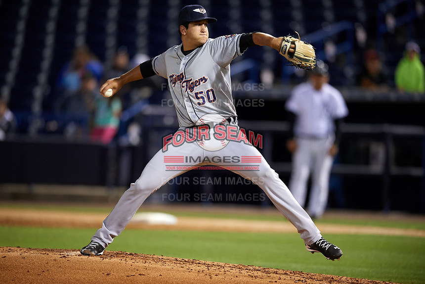 Lakeland Flying Tigers starting pitcher A.J. Ladwig (50) delivers a pitch during a game against the Tampa Yankees on April 7, 2017 at George M. Steinbrenner Field in Tampa, Florida.  Lakeland defeated Tampa 5-0.  (Mike Janes/Four Seam Images)