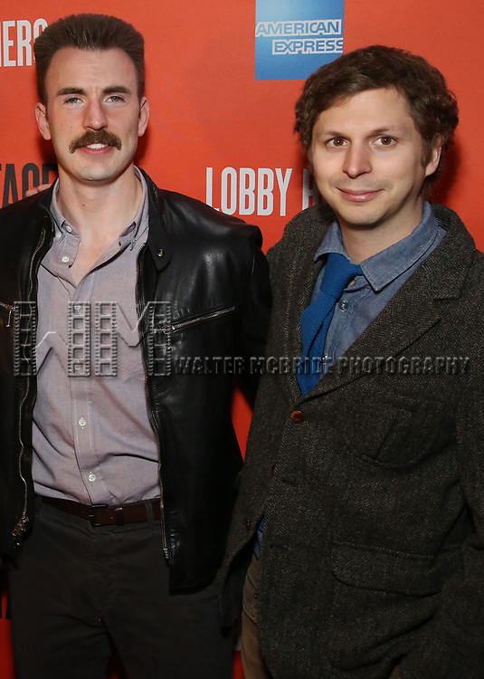 Chris Evans and Michael Cera attends the the Broadway Opening Night Performance After Party for 'Lobby Hero' at Bryant Park Grill on March 26, 2018 in New York City.