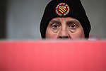 © Joel Goodman - 07973 332324 . 14/11/2015 . Manchester , UK . An FC United fan . FC United host Gainsborough Trinity in the National League North at Broadhurst Park . NB requested changing room access three times and was denied three times . Photo credit : Joel Goodman
