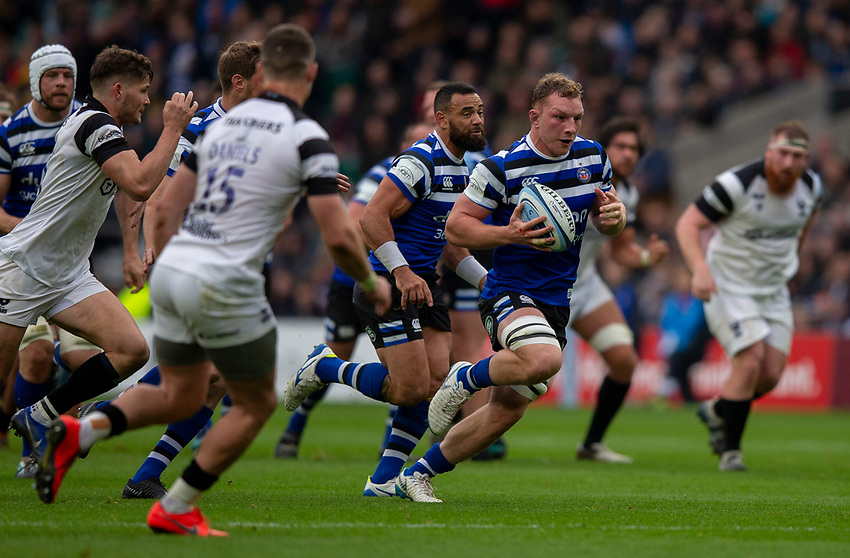 Bath Rugby's Sam Underhill in action during todays match<br /> <br /> Photographer Bob Bradford/CameraSport<br /> <br /> Gallagher Premiership - Bath Rugby v Bristol Bears - Saturday 6th April 2019 - The Recreation Ground - Bath<br /> <br /> World Copyright © 2019 CameraSport. All rights reserved. 43 Linden Ave. Countesthorpe. Leicester. England. LE8 5PG - Tel: +44 (0) 116 277 4147 - admin@camerasport.com - www.camerasport.com