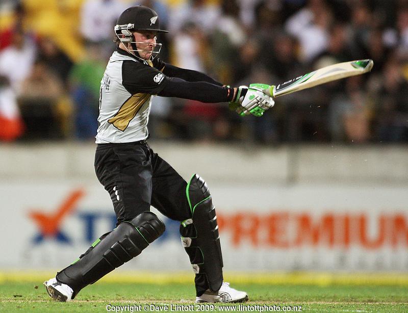 NZ's Brendon McCullum bats during 2nd Twenty20 cricket match match between New Zealand Black Caps and West Indies at Westpac Stadium, Wellington, New Zealand on Friday, 27 February 2009. Photo: Dave Lintott / lintottphoto.co.nz