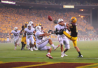 Sept 6, 2008; Tempe, AZ, USA; Arizona State University Sun Devils wide receiver (13) Chris McGaha bobbles a pass in the end zone against the Stanford Cardinal at Sun Devil Stadium. Mandatory Credit: Mark J. Rebilas-