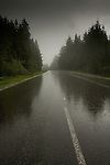 Raining on the road to Mount Seymour Provincial Park, North Vancouver, British Columbia, Canada.