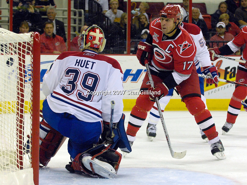 Carolina Hurricanes' Rod Brind'Amour (17) shoots and scores past the Montreal Canadiens' goalie Cristobal Huet (39) during their game Friday, Oct. 26, 2007 in Raleigh, NC. The Canadiens won 7-4.