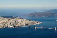 Aerial photograph of San Francisco, Alcatraz, the Golden Gate Bridge and bay Bridge