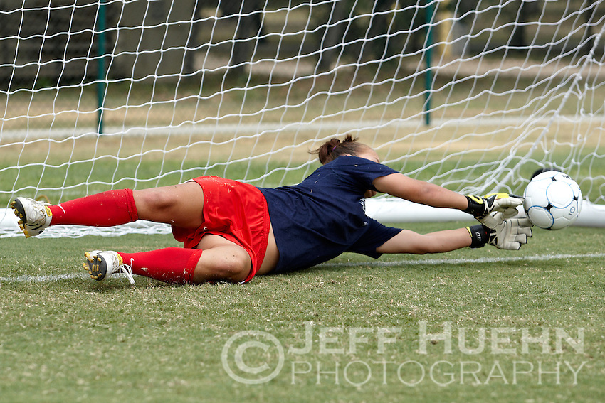 SAN ANTONIO, TX - AUGUST 29, 2010: The Houston Baptist University Huskies vs. the University of Texas at San Antonio Roadrunners Women's Soccer at Roadrunner Field. (Photo by Jeff Huehn)