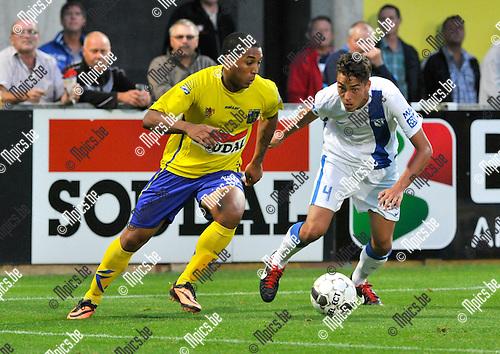2013-08-31 / voetbal / seizoen 2013-2014 / Westerlo - Vise / Sherjill Mac Donald (l) (Westerlo) in duel met Marin Lacroix (r) (Vise)