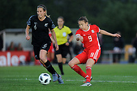 Kayleigh Green of Wales Women's' has a shot during the Women's International Friendly match between Wales and New Zealand at the Cardiff International Sports Stadium in Cardiff, Wales, UK. Tuesday 04 June, 2019