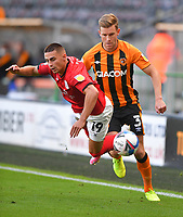 Hull City's Callum Elder battles with Crew Alexandra's Owen Dale<br /> <br /> Photographer Dave Howarth/CameraSport<br /> <br /> The EFL Sky Bet League One - Hull City v Crewe Alexandra - Saturday 19th September 2020 - KCOM Stadium - Kingston upon Hull<br /> <br /> World Copyright © 2020 CameraSport. All rights reserved. 43 Linden Ave. Countesthorpe. Leicester. England. LE8 5PG - Tel: +44 (0) 116 277 4147 - admin@camerasport.com - www.camerasport.com