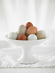 Naturally colored brown, beige, and white eggs in a porcelain ceramic dish.