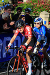 Angelika Tazreiter (AUT) and Letizia Paternoster (ITA) on the first circuit of Harrogate during the Women Elite Road Race of the UCI World Championships 2019 running 149.4km from Bradford to Harrogate, England. 28th September 2019.<br /> Picture: Andy Brady | Cyclefile<br /> <br /> All photos usage must carry mandatory copyright credit (© Cyclefile | Andy Brady)