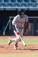 Scottsdale Scorpions third baseman Arquimedes Gamboa (7), of the Philadelphia Phillies organization, starts down the first base line during an Arizona Fall League game against the Peoria Javelinas at Peoria Sports Complex on October 18, 2018 in Peoria, Arizona. Scottsdale defeated Peoria 8-0. (Zachary Lucy/Four Seam Images)
