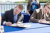 Spencer Abbott (Maine), Jack Connolly (UMD) - The members of the Hobey Hat Trick joined the Boston College Eagles and Ferris State Bulldogs at an autograph signing at Channelside Bay Plaza on Friday, April 6, 2012, in Tampa, Florida.