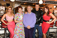 "Heidi Range, Cheryl Baker, Henry Winkler, Ben Freeman and producer, Amy Anzel at the photocall for ""Happy Days The Musical"" at Ed's Easy Diner, Trocadero, London. 08/01/2014 Picture by: Steve Vas / Featureflash"