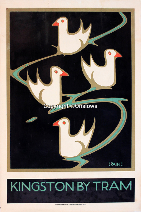 BNPS.co.uk (01202 558833)<br /> Pic: Onslows/BNPS<br /> <br /> Stylish art deco style poster for Kingston by tram.<br /> <br /> A fascinating treasure trove of old London posters are expected to sell at auction for £20,000 after being discovered in a garage.<br /> <br /> They were produced circa 1920 by the Underground Electric Railway Company to promote the capital's underground, tram and bus networks.<br /> <br /> There is also a charming selection of 'London Characters' posters showing different walks of life including a news boy, a zookeeper, a flower woman and a Covent Garden porter.<br /> <br /> The collection of 35 posters were found rolled up in a garage lock up in Kensington, west London, while it was being cleared out.<br /> <br /> The vendor, a lady in her 80s, inherited them many years ago from her late aunt who was an artist in the 1920s and had her own studio.