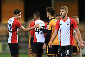 3rd October 2017, The Abbey Stadium, Cambridge, England; Football League Trophy Group stage, Cambridge United versus Southampton U21; Alfie Jones of Southampton shakes hands as he celebrates the 0-1 win