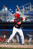 Batavia Muckdogs second baseman Sutton Whiting (49) at bat during the second game of a doubleheader against the Auburn Doubledays on September 4, 2016 at Dwyer Stadium in Batavia, New York.  Batavia defeated Auburn 6-5. (Mike Janes/Four Seam Images)