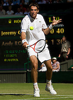Jeremy Chardy (FRA) against Andy Roddick (USA) (6) in the first round of the gentlemen's singles. Roddick beat Chardy 6-3 7-6 4-6 6-3 ..Tennis - Wimbledon - Day 2 - Tues 23rd June 2009 - All England Lawn Tennis Club  - Wimbledon - London - United Kingdom..Frey Images, Barry House, 20-22 Worple Road, London, SW19 4DH.Tel - +44 20 8947 0100.Cell - +44 7843 383 012