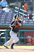 Juan Perez #1 of the Bakersfield Blaze bats against the Inland Empire 66ers at San Manuel Stadium on August 21, 2014 in San Bernardino, California. Inland Empire defeated Bakersfield, 3-1. (Larry Goren/Four Seam Images)