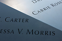 Names of those perished in the September 11, 2001 terrorist attacks, inscribed in the in perimiter of the South Pool at the National 9/11 Memorial in New York City.
