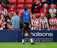 Lincoln City's John Akinde during the pre-match warm-up<br /> <br /> Photographer Andrew Vaughan/CameraSport<br /> <br /> The EFL Sky Bet League Two - Lincoln City v Tranmere Rovers - Monday 22nd April 2019 - Sincil Bank - Lincoln<br /> <br /> World Copyright © 2019 CameraSport. All rights reserved. 43 Linden Ave. Countesthorpe. Leicester. England. LE8 5PG - Tel: +44 (0) 116 277 4147 - admin@camerasport.com - www.camerasport.com