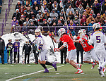 University at Albany Men's Lacrosse defeats Cornell 11-9 on Mar 4 at Casey Stadium.  Tehoka Nanticoke (#1) looks for the assist to Connor Fields (#5) late in the game.