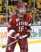 Alex Fallstrom (Harvard - 16) - The Harvard University Crimson defeated the Boston University Terriers 5-4 in the 2011 Beanpot consolation game on Monday, February 14, 2011, at TD Garden in Boston, Massachusetts.