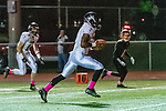 WATERTOWN, CT. 11 October 2019-101119BS372 - Ansonia running back Shykeem Harmon #3 runs the ball in for a easy touchdown, after catching a pass over the middle, during a NVL game of the unbeaten between Ansonia and Watertown at Watertown High School on Friday. Bill Shettle Republican-American