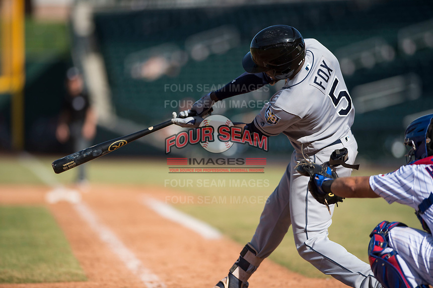Peoria Javelinas shortstop Lucius Fox (5), of the Tampa Bay Rays organization, swings at a pitch during an Arizona Fall League game against the Mesa Solar Sox at Sloan Park on October 24, 2018 in Mesa, Arizona. Mesa defeated Peoria 4-3. (Zachary Lucy/Four Seam Images)