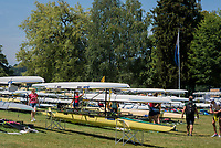 Lucerne, SWITZERLAND, 12th July 2018, Thursday General View, Boat Storage area, Racks, Slings, FISA World Cup III, Lake Rotsee, © Peter SPURRIER,